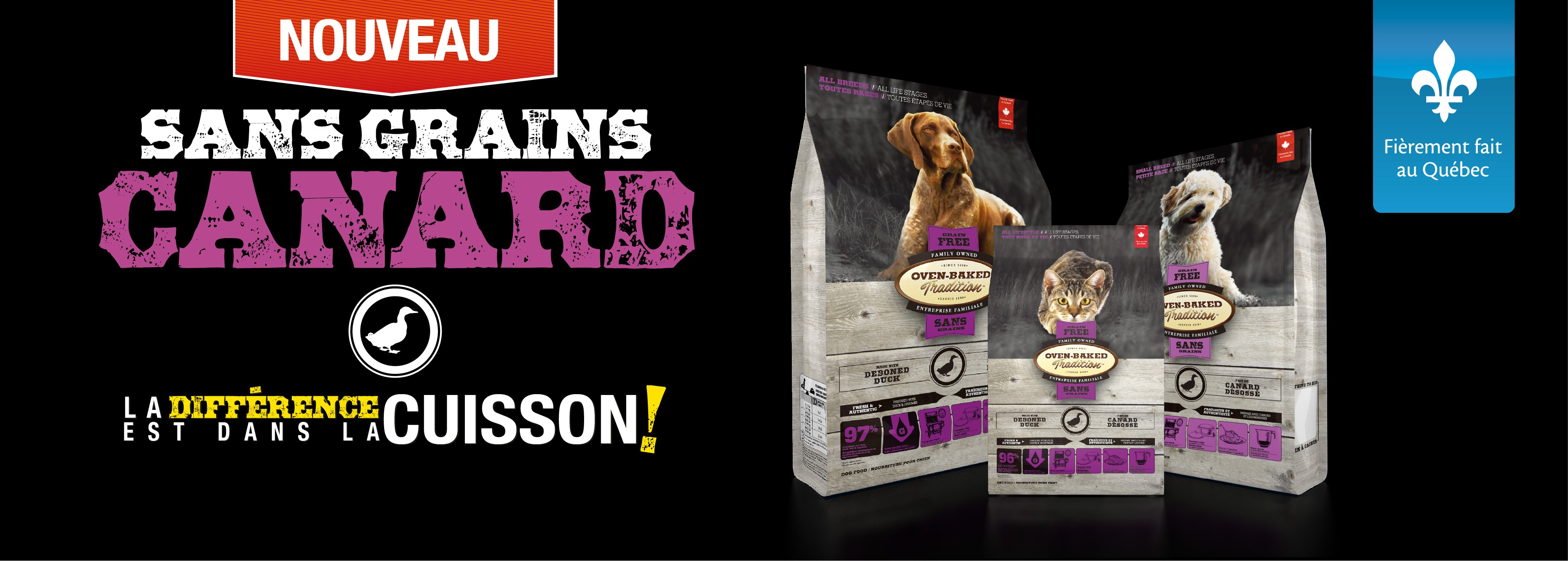 Nourriture pour chien sans grain – canard | Grain-free duck formula adult dog food | Oven-Baked Tradition